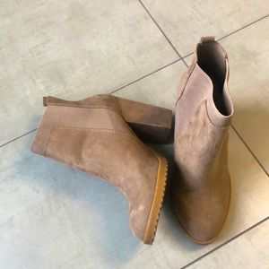 Tan booties from Italy